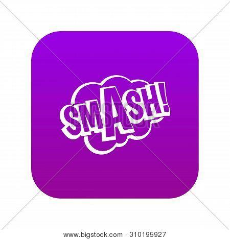 Smash, Comic Book Bubble Text Icon Digital Purple For Any Design Isolated On White Vector Illustrati