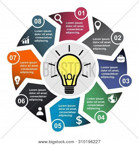 8 Step Vector Element In Eight Colors With Labels, Infographic Diagram. Business Concept Of 8 Steps