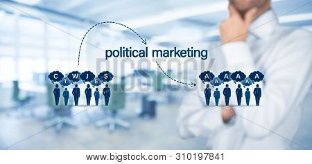 Political Marketing Impact And Populism Threat Concept. Political Marketing Is The Way How To Change