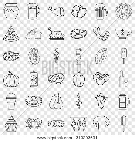 Jam Icons Set. Outline Style Of 36 Jam Vector Icons For Web For Any Design
