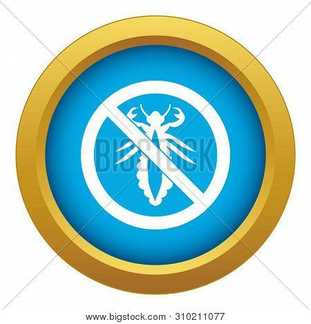 No Louse Sign Icon Blue Vector Isolated On White Background For Any Design