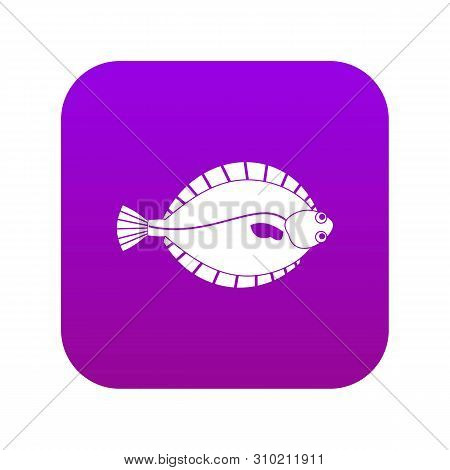 Flounder Icon Digital Purple For Any Design Isolated On White Vector Illustration