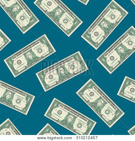 Bill One Dollar Banknot Seamless Pattern Background. Vector