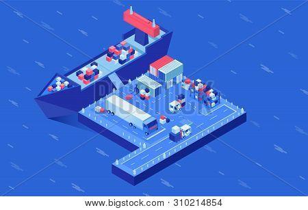 Shipment Transportation Isometric Vector Illustration. Industrial Vessel Loading In Seaport, Freight