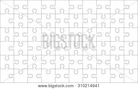 Puzzles Grid - Blank Template. Jigsaw Puzzle With 60 Pieces. Mosaic Background For Thinking Game Is