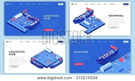 Marine Shipments Landing Page Templates Set. Shipping Logistics Website Homepage Interface Idea With