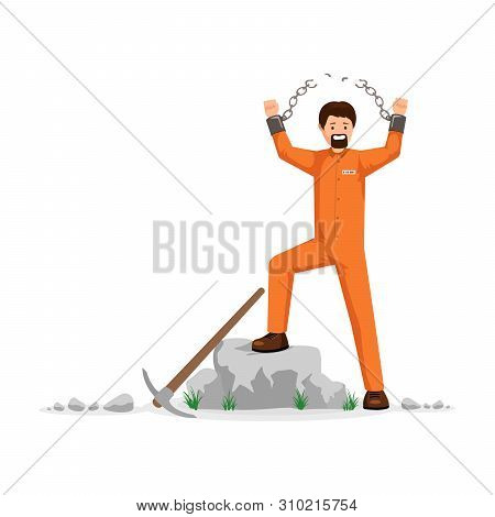 Freed prisoner with broken chains vector illustration. Man in orange prison uniform, hard labourer, rioting, conquering freedom. Male captive on correctional labour tearing shackles chain apart poster