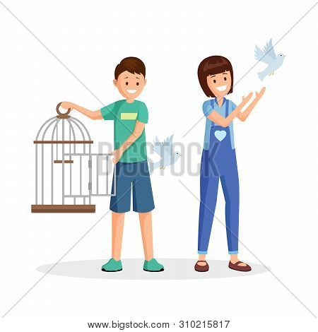 Children Setting Birds Free Vector Illustration. Cartoon Kids, Teenagers With Open Birdcage Liberati