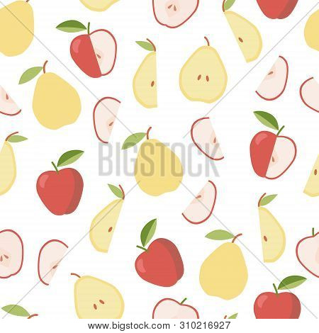 Colorful Pattern With Apple And Pear. Summer, Sweet Food. Vegetable Diet.