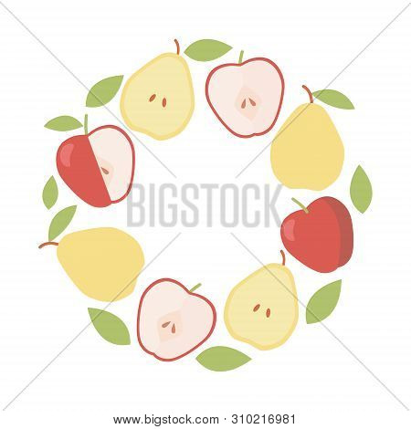 Organic Ingredient. Vector Frame Background. Vintage Apple And Pear Round Border.