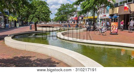 Hoogeveen, Netherlands - June 17, 2019: Panorama Of The Meandering Canal In Hoogeveen, Netherlands