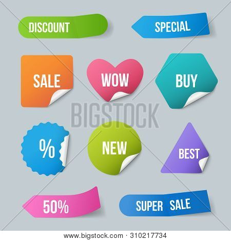 Advertizing Stickers. Sale Promo Labels For New Products Badges From Paper With Curled Corners And R