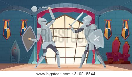Castle Interior. Medieval Royals Room With Knight Fighters Vector Castle In Cartoon Style. Illustrat