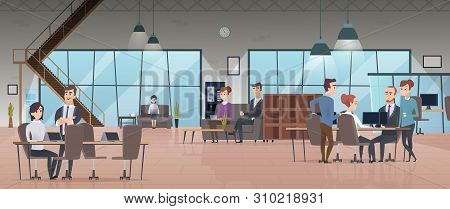 Open Office Interior. Business People Workspace Corporate Working Characters Vector Modern Office. I