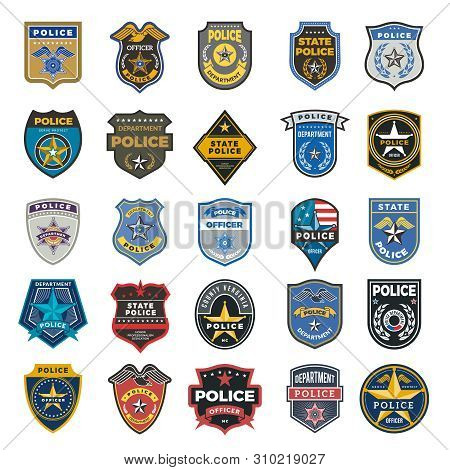 Police Badges. Officer Security Federal Agent Signs And Symbols Police Protection Vector Logo. Illus