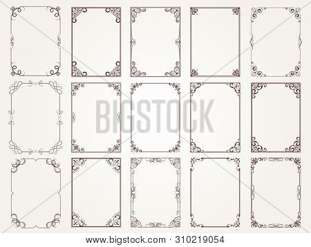 Calligraphic Frames. Borders Corners Ornate Frames For Certificate Floral Classic Vector Designs Col