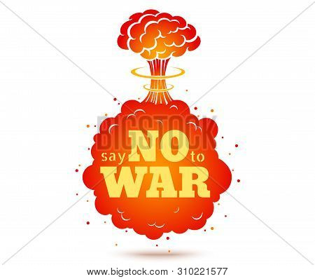 Vector Vintage Poster, Say No To War. Pacific Vintage Poster With Atomic Bomb. Vector Typography Of
