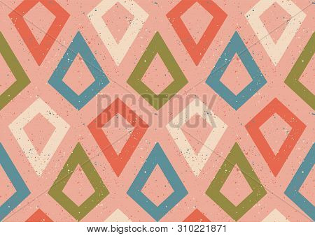 Vintage Vector Seamless Pattern In Retro Style. Retro Colorful Pattern With Grunge Abstract Rhombus.