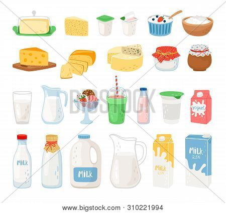 Dairy Products, Milk, Cheese Yoghurt And Ice Cream. Cheese And Milk, Food Healthy. Vector Illustrati