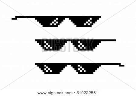 Pixel Glasses Isolated. Thug Life Style. Meme Symbol Design. Retro 8 Bit Template.