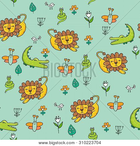 Cute Seamless Pattern With Tropical Animals And Flowers.