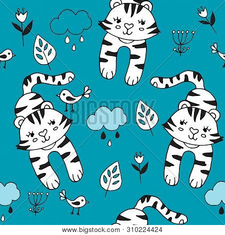 Cute Seamless Pattern With Tropical Animals On Blue Background.