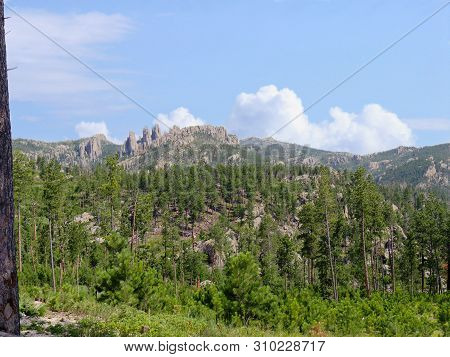 Lush Nature Views With Rock Formations In The Distance Seen Along Needles Highway At Custer State Pa