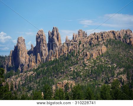 Stunning Rock Formations On The Mountains Seen Along Needles Highway At Custer State Park, South Dak