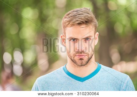 Charming Confidence. Blond Man. Man With Unshaved Mustache And Beard Hair With Stylish Haircut. Hand