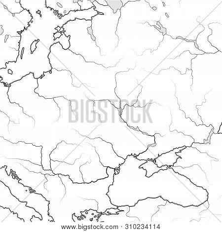 Map Of The Slavic & Baltic Lands: Eastern Europe, Kiev Russ, Ukraine, Moscovia, Lithuania, Baltica,