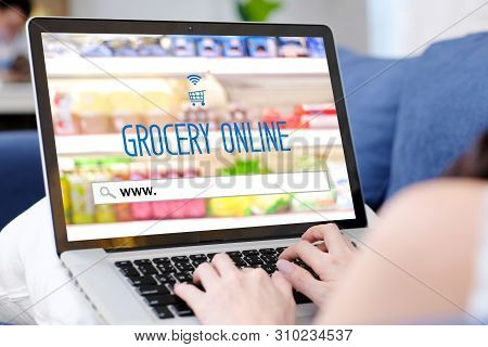 Grocery Online Shopping, Laptop Computer Screen With Www. On Search Bar Website, Woman Hand Searchin