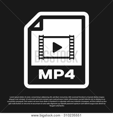 Black Mp4 File Document Icon. Download Mp4 Button Icon Isolated On Black Background. Mp4 File Symbol
