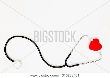 Stethoscope, Top View Of Stethoscope And Red Heart On White Background, Red Heart And Stethoscope Is