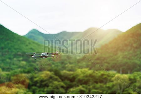 Close Up Drone Flying Over Nature At Sunset