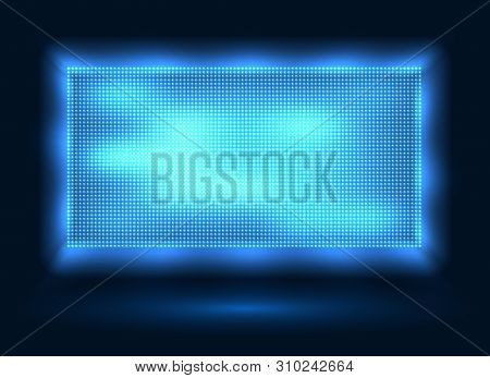 Blue Led Lights Screen. Vector Stage Display Background With Blue Leds Dots Technology, Light Spot B