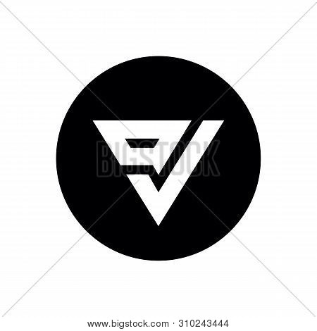 Initial Letter Ov Or Vo Logo Icon Design, On Black Circle Background - Vector