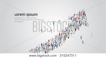 People Crowd Gathering In Shape Of Financial Arrow Up Symbol Social Media Community Successful Growt