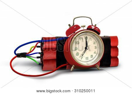 Time Bomb With Red Dynamite Pack And Alarm Clock