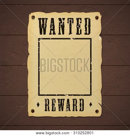 Blank Old Wanted Banner Template Nailed To A Wooden Wall