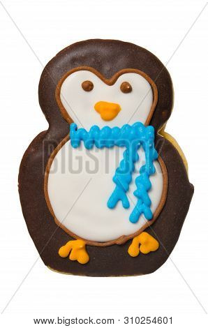 Christmas Penguin Cookie Isolated On A White Background