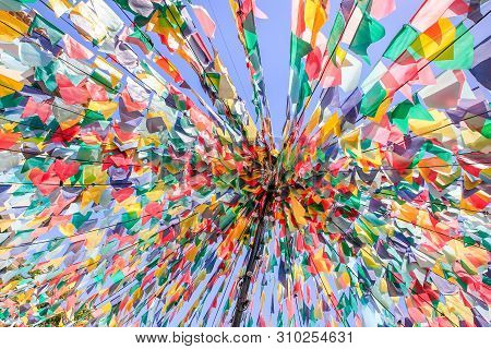 Converging Lines With Colorful Flags As Decoration For Festivity In Portugal