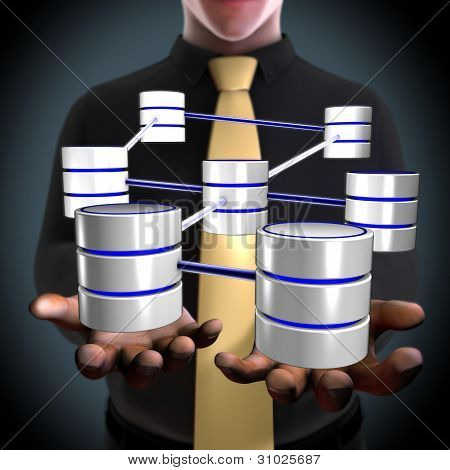 An architect creating a database network