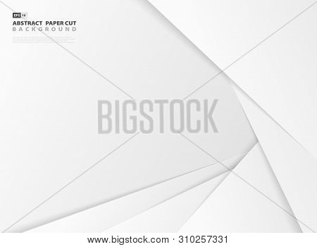Abstract Design Gradient Gray And White Color Paper Cut Pattern Template Background. Vector Eps10