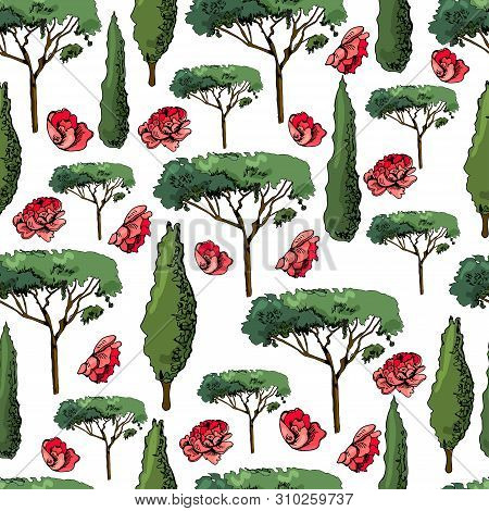 Seamless Pattern With Italian Trees Cypresses And Pines And Flowers Of Red Roses. Ink And Colored El