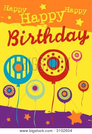 Vector birthday card with abstract party balloons poster
