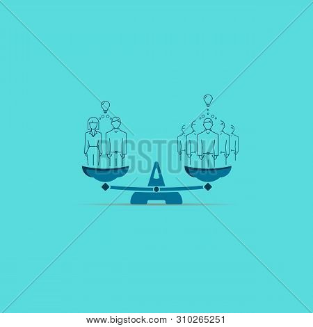 Family In Business Is Better Than Five Men. Illustration On Scales. Vector Symbol