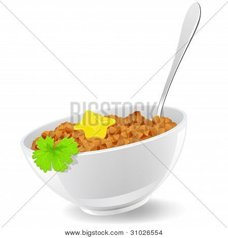 Buckwheat In Plate With Spoon