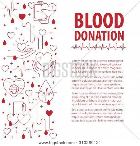 Donation Blood Vertical Template From Line Icons Element. Vector Illustration