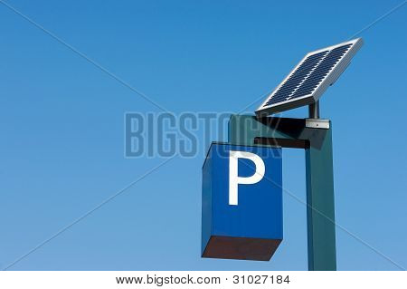 Solar cells feeding a parking meter in operation