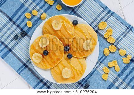 Pancake Stack Blueberry Honey Dessert Flatlay. Fried Golden Sweet Crepes For Delicious Shrovetide Li